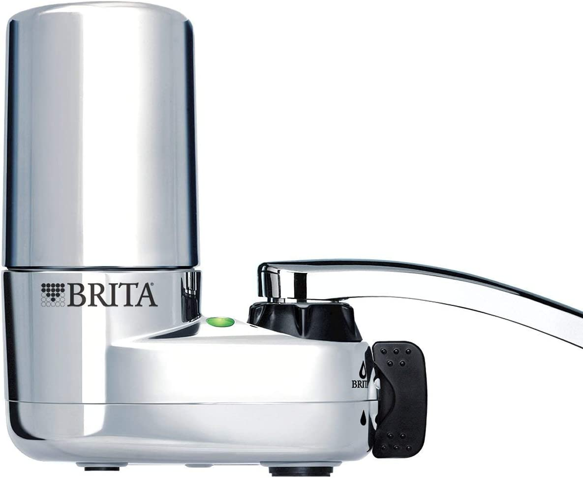 Brita Faucet Water Filter System with Light Indicator, Chrome (Renewed)