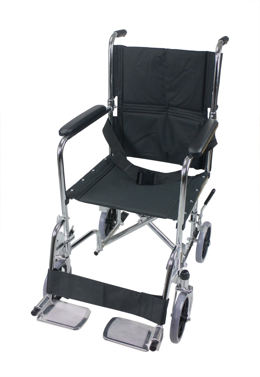 """ObboMed® MW-6000 8"""" Wheels Folding Steel Transport Chair with 16"""" Wide Seat, Full Cushioned Armrest, Swing Away Footrest and Safety Seat Belt, Black"""