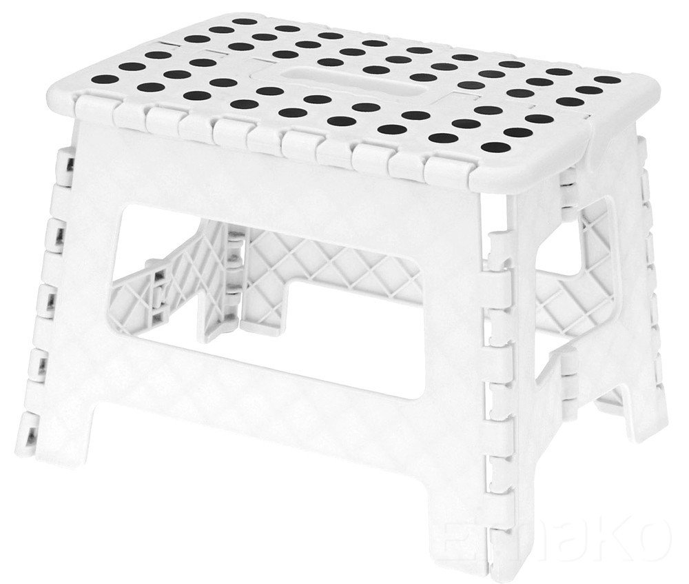 Excellent Houseware Small Folding Step Stool - 100 Kg Capacity (White)