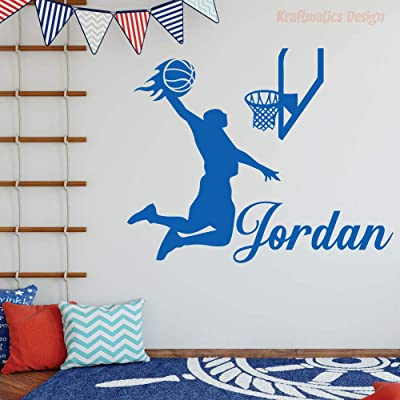 "Basketball Flames Custom Name Sports Series Nursery Wall Decal Vinyl Sticker for Home Decor. (Medium W 30"" x H 24""): Baby"