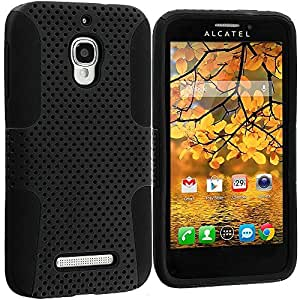 Accessory Planet(TM) Black / Black Hybrid 2-Piece Mesh Rugged Hard Silicone Soft Rubber Case Cover Accessory for Alcatel One Touch Fierce 7024W
