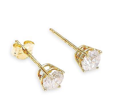 5d53affbf 0.20 Carat (CTW) Natural Round Brilliant Diamond 14K Solid Gold Stud  Earrings H-I color