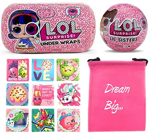 LOL Surprise Dolls Gift Bundle Includes (1) Innovation Series 4 Under Wraps + (1) Eye Spy Lil Sister + 9 Shopkins Stickers with Compatible Toy Storage ()