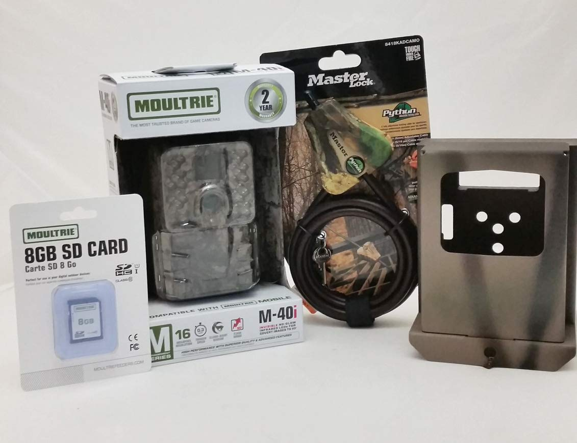 Moultrie M-40i No-Glow IR Trail Camera | Security Box | Python Cable | 8GB SD Card