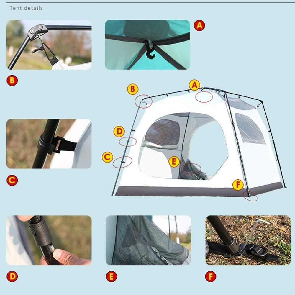YANG 2 x 2m Pop Up Outdoor Zelte 4-6 Mann Wasserdicht Double Layer Canopy Instant-Zelt Camping Sun Shelter für alle Jahreszeiten,Blau Blau