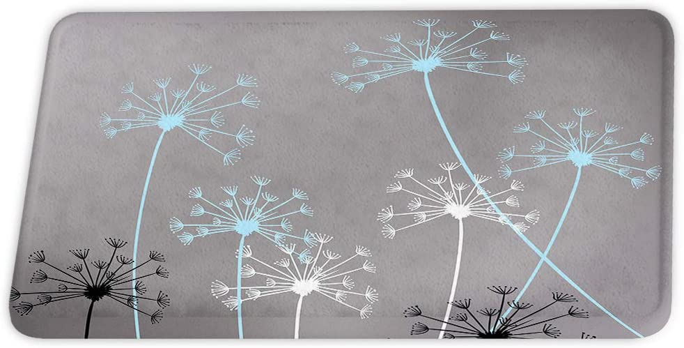 Floral Thistles Dandelion Coral Velvet Bath Rugs Non Slip Shower Mat for Bathroom Decor Sets Door Rug with Rubber Backing Absorbent Kitchen Floor Carpet 17 x 24 inches Gray and Blue