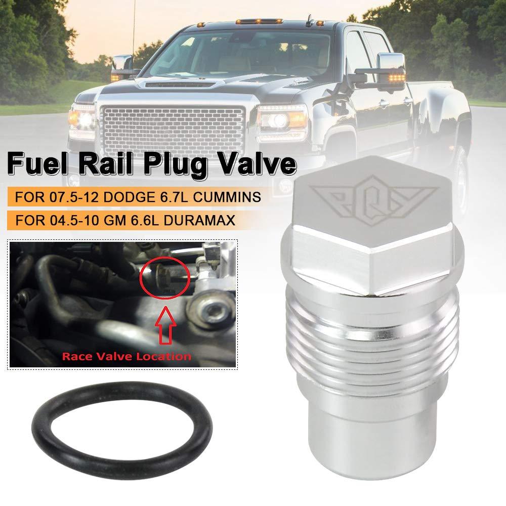 PQY Diesel Fuel Rail Plug Valve Fitting For 07.5-12 Dodge 6.7L Cummins /& 04.5-10 GM 6.6L Duramax silver