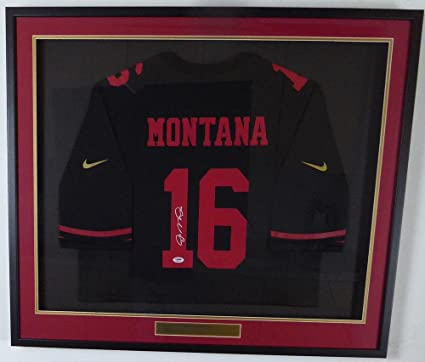 adedea844a1 Joe Montana Signed Jersey - Framed Black Nike 131935 - PSA DNA Certified -  Autographed