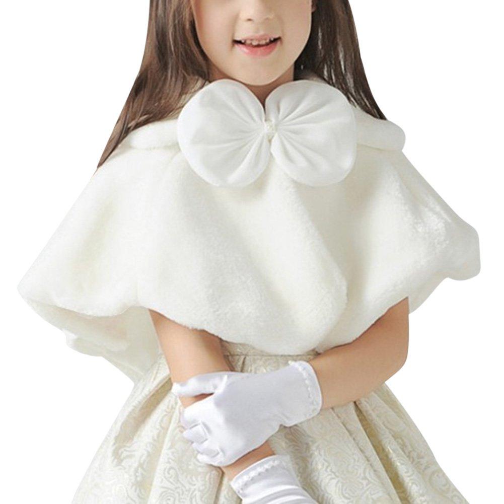 Kidlove Girls Faux Fur Princess Shrug Crop Cape Coat for Wedding Gown White