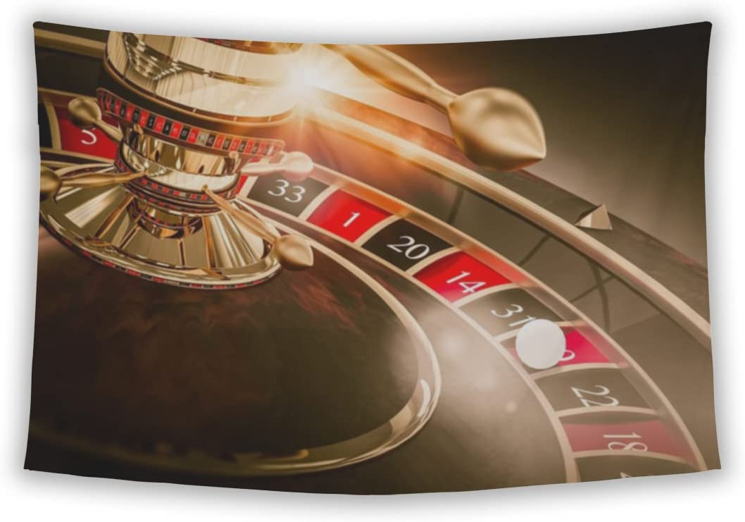 Gear New Wall Tapestry for Bedroom Hanging Art Decor College Dorm Bohemian, Casino Roulette Games Concept 3D Render Illustration Vegas, 104×88
