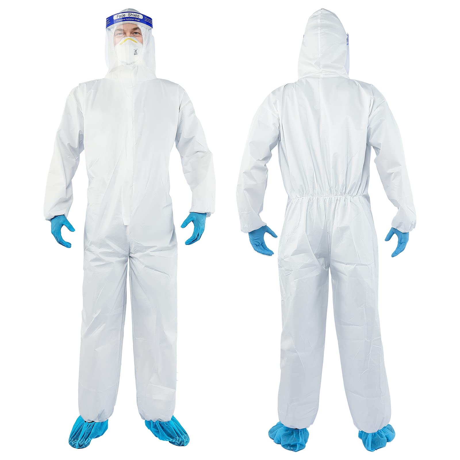 YIBER Disposable Protective Coverall Hazmat Suit, Heavy Duty Painters Coveralls, Made of SF Material, Excellent air permeability and water repellency - 1 PCS/PACK (S, White)