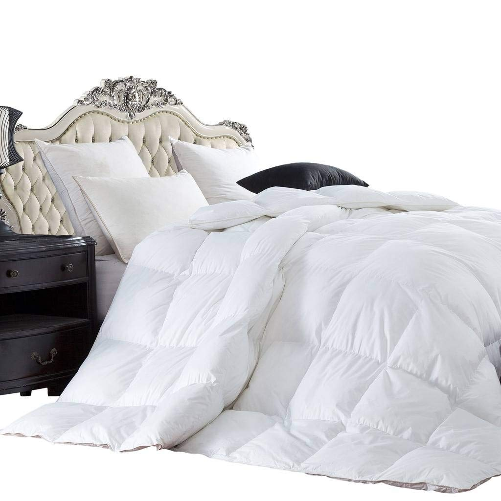 Luxury Bedding\'s Twin Extra Long (XL) Size Luxurious 1200 Thread Count Siberian GOOSE DOWN Comforter, 100% Egyptian Cotton Cover, Solid White Color, 750 Fill Power, 50 Oz Fill Weight Luxury Bedding Store