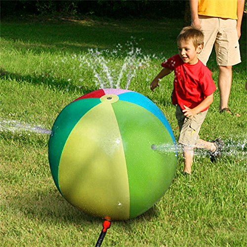 Splash and Spray Ball, HALOFUN 29.5in-Diameter Inflatable Sprinkler Water Ball Outdoor Fun Toy for Hot Summer Swimming Party Beach Pool Play
