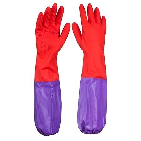 DishGo Waterproof Long Sleeve Multipurpose Rubber Latex Gloves (1 Pair)