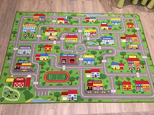 City Street Map Kids' Rug With Roads Kids Rug play mat with School Hospital Station Bank Hotel Book Store Government Workshop Farm for Boy Girl Nursery Bedroom Playroom Classrooms (51'' X 75'') by HUAHOO