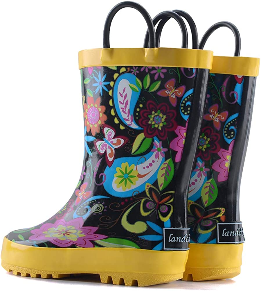Waterproof Rubber Rainboots with Easy-On Handles landchief Kids Rain Boots Boys /& Girls