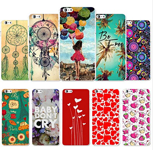6pcs Promotion iPhone 5C Case, for iPhone 5C Colorful Printed Plastic Back Hard Cases with Stylus Pen (Random Pattern)