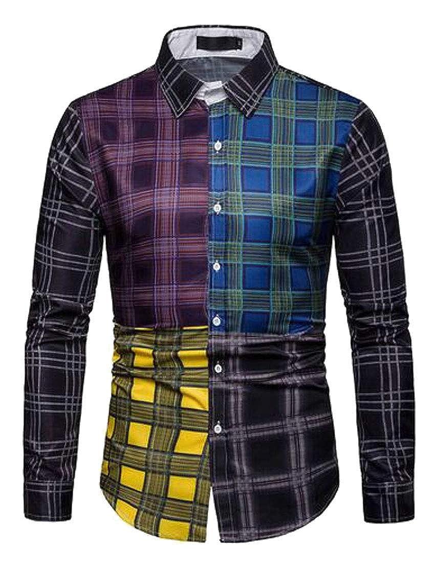 ARTFFEL Mens Slim Casual Business Button Up Long Sleeve Plaid Dress Shirts