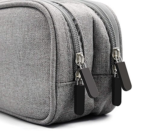 Electronics Accessories Organizer Bag, Double Layer Cable Cord Management Bag, Travel Camping Gear, Small Gadget Pouch for Plugs, Earphone and More(Grey) by YOYL (Image #6)