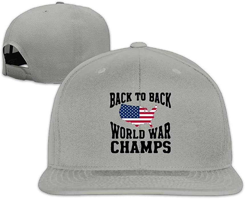 f47d28b9b84 Back to Back World War Champs Plain Adjustable Snapback Hats Men s Women s  Baseball Caps at Amazon Men s Clothing store