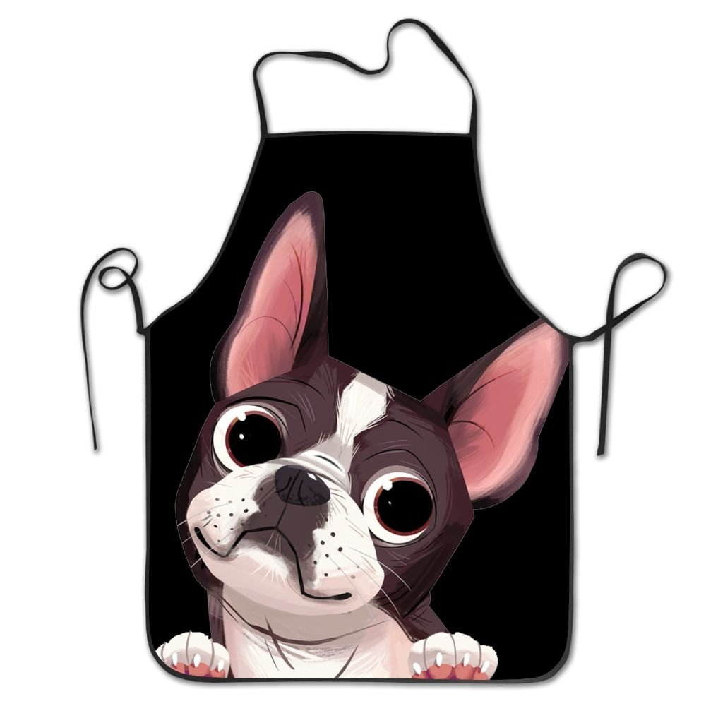 Yisliferunaz Boston Terrier Dog Aprons Bib Unisex Lace Adjustable Polyester Chef Cooking Long Full Kitchen Aprons For Outdoor Restaurant Cleaning Serving Crafting Gardening Baking BBQ Grill