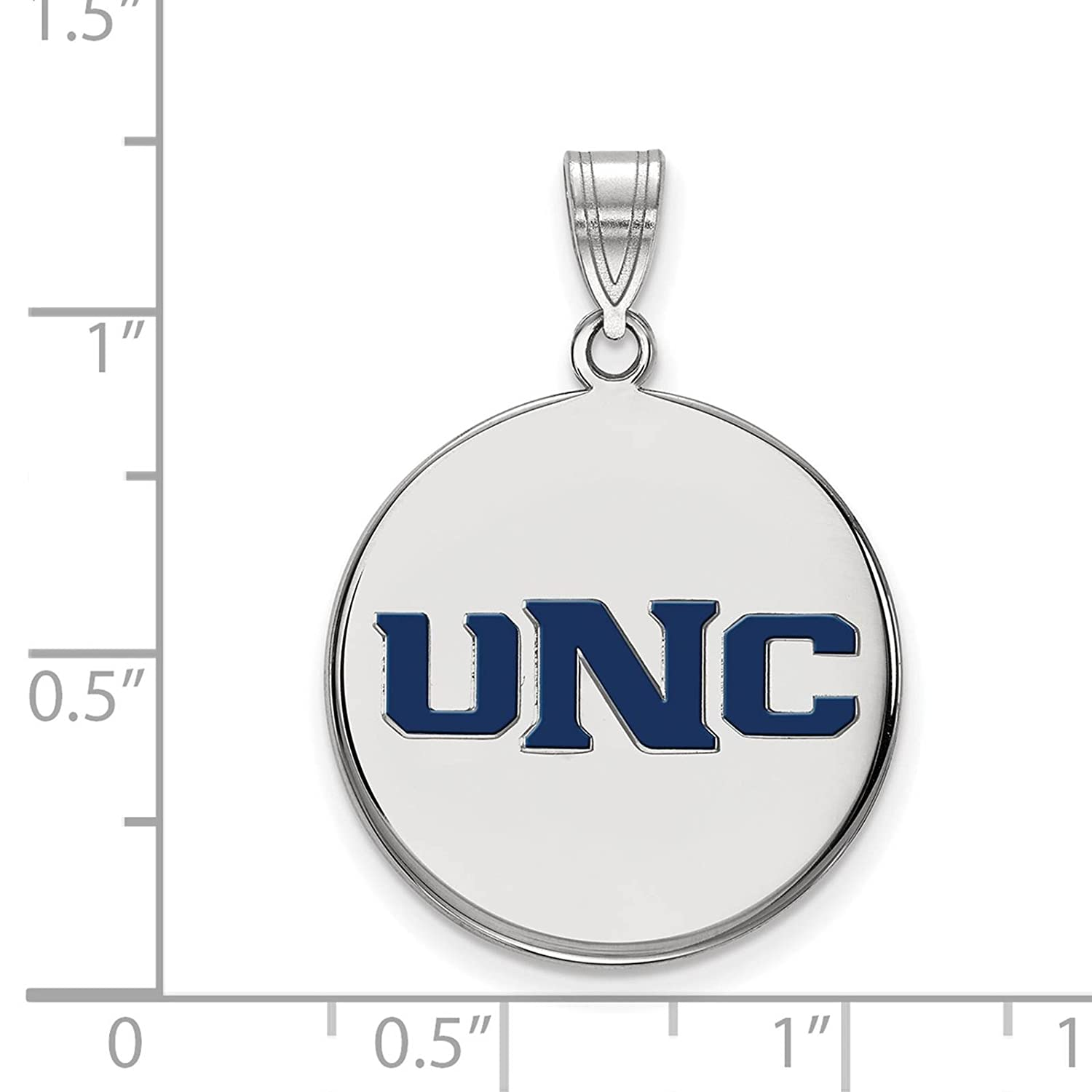 925 Sterling Silver Rhodium-plated Laser-cut University of Northern Colorado Large Enameled Disc Pendant