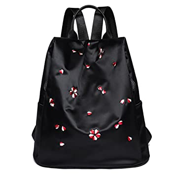 Alta calidad mujeres mochilas mochilas escolares para adolescentes bordado de moda flor negro ocasionales mochilas de día mochilas femeninas 01 black about ...
