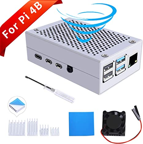 GeeekPi Raspberry Pi 4 Caja con Ventilador, Raspberry Pi 4b Caja de Aluminio Caja de Metal y 4PCS Disipadores de Aluminio para Raspberry Pi 4 Modelo B (Solo para Pi 4B) (Plata):