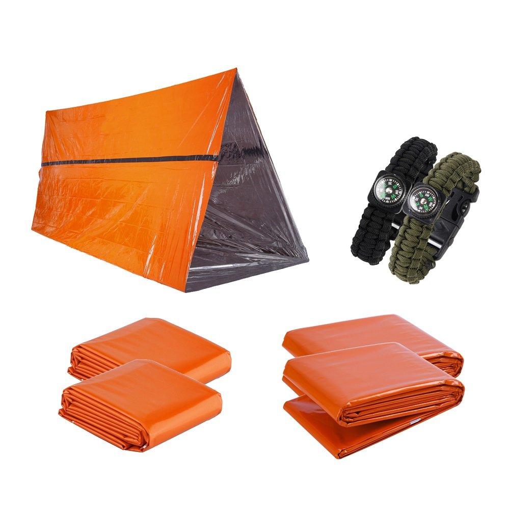 Kit de supervivencia de emergencia 7 en 1 para 2 personas- Preparació n para emergencias al aire libre con refugio de emergencia, mantas de emergencia, saco de dormir y pulsera de supervivencia cobra YIYE LTD