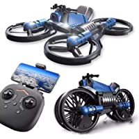 Children's Enlightenment Remote Control Drone Simulation Model Toy with HD Camear 2.4g Deformation Motorcycle Folding…