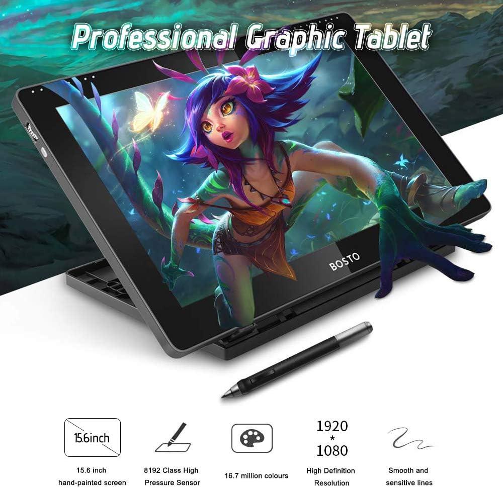 Aibecy BOSTO 16HDK 15,6Zoll H-IPS LCD Grafiktablett Display 8192 Aktive Technologie mit aktivem Druckpegel USB betriebenes verbrauchsarmes Grafiktablett mit interaktivem Eingabestift