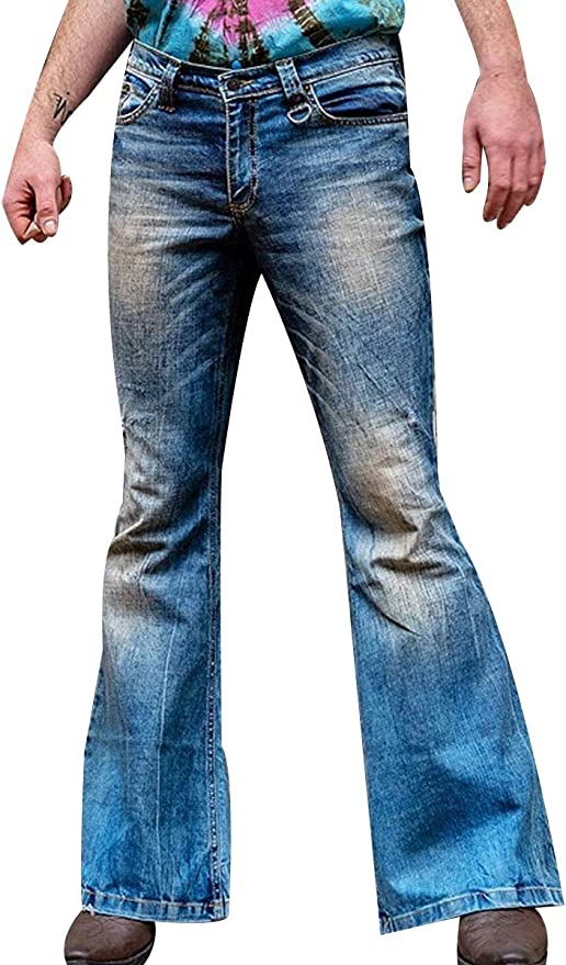 Men's Vintage Pants, Trousers, Jeans, Overalls Mens Retro Stretch Bell Bottom Jeans Classic Disco Fever Flared Leg Jeans $40.88 AT vintagedancer.com