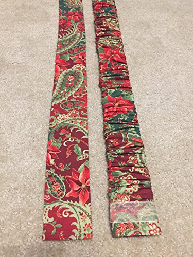 Trendy Print, LONG - Christmas Paisley & Poinsettias print Lamp Cord Cover, Fabric, Electrical Cord Cover, hide a cord- IN STOCK, Ready to ()