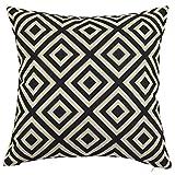 Square Black and White Geometric Printed Cushion Cover ChezMax Cotton Throw Pillow Case Sham Slipover Pillowslip Pillowcase For Divan Divan Bed Car Seat