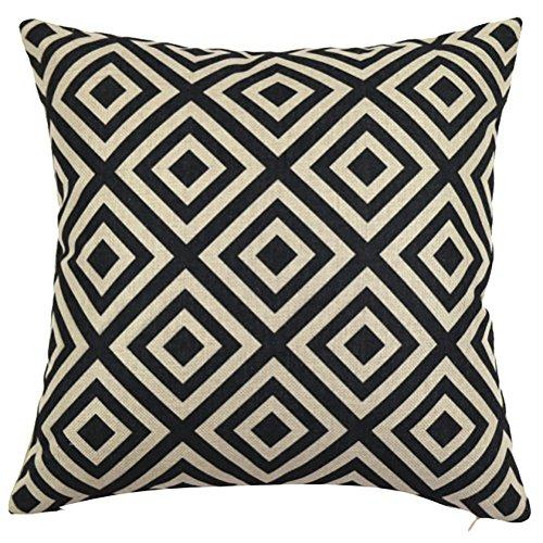 ChezMax Square Black White Geometric Printed Cushion Cover Cotton Throw Pillow Case Sham Slipover Pillowslip Pillowcase Club Pub Coffee House Bar Sofa Chair Couch