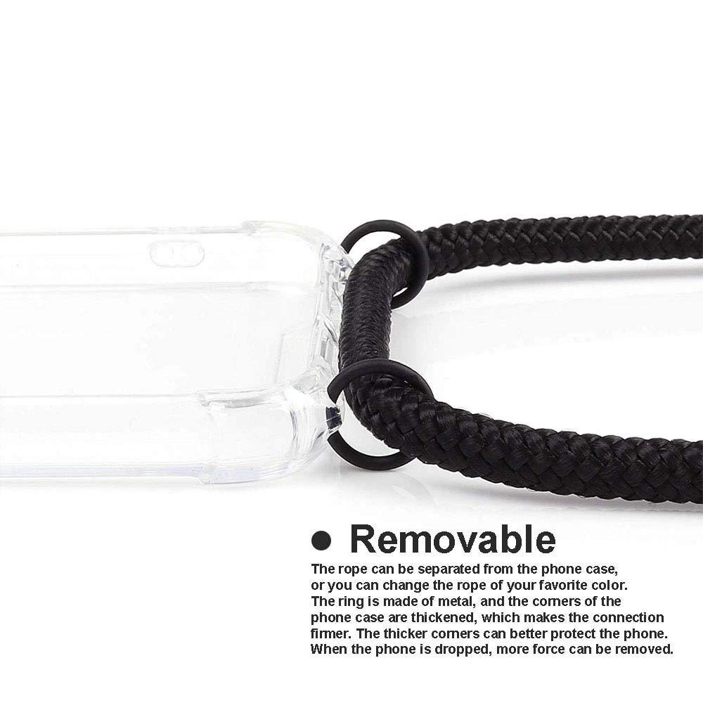 YuhooTech Funda con Cuerda para OnePlus 7T, Anti-rasgu/ños Suave Silicona Transparente TPU Carcasa de movil con Colgante//Cadena Moda y Practico Anti-Choque Multicolor