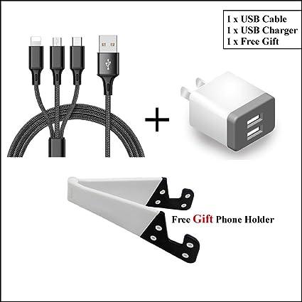 Amazon.com: Cable USB 3 en 1, cargador USB de doble puerto ...