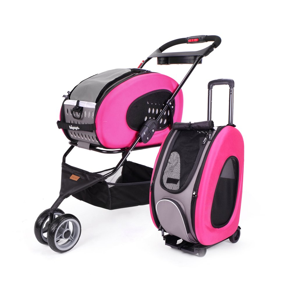 Ibiyaya 5-in-1 Combo EVA Pet Carrier/Stroller, Hot Pink