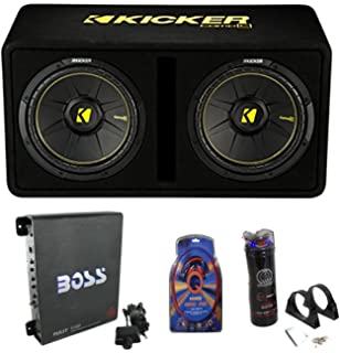 Amazon mtx dual 12 subwoofers amplifier package wiring kit kicker 44dcwc122 12 1200w car subwoofers sub enclosure amp capacitor wire greentooth Images