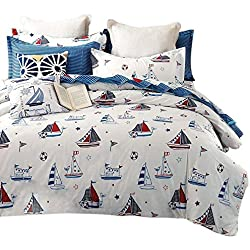 FenDie Sailboat Printed Reversible Teens Bed Cover Set Boys 100 Cotton Striped Pattern Duvet Cover Blue Nautical Theme Queen Bedding Set