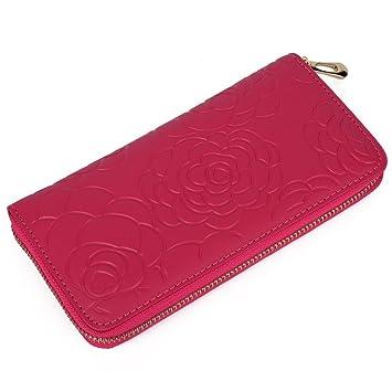sakutane Mujer Cartera de cuero cremallera monedero Alrededor de Monedero diseño de relieve, Vino Rojo (Rojo) - WB0013-WBinered: Amazon.es: Equipaje