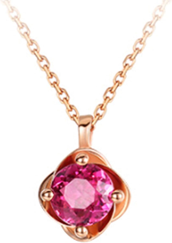 Epinki 18K Oro Mujeres Collar Diamante Ronda Rosa Collar de Diamante