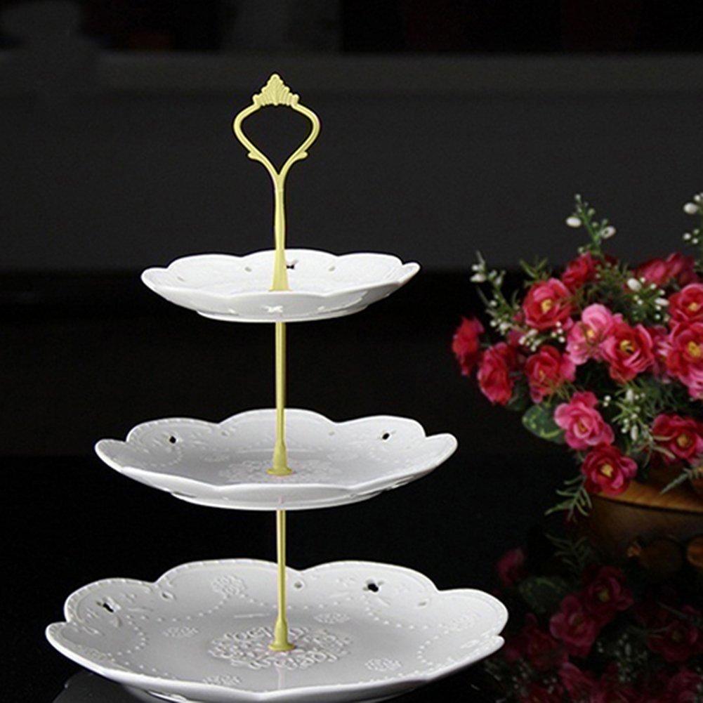 Fuente para pasteles de tres pisos, de pie, con asa, para decoración de la mesa en bodas, diseño de corona, acero inoxidable, dorado, Medium: Amazon.es: ...