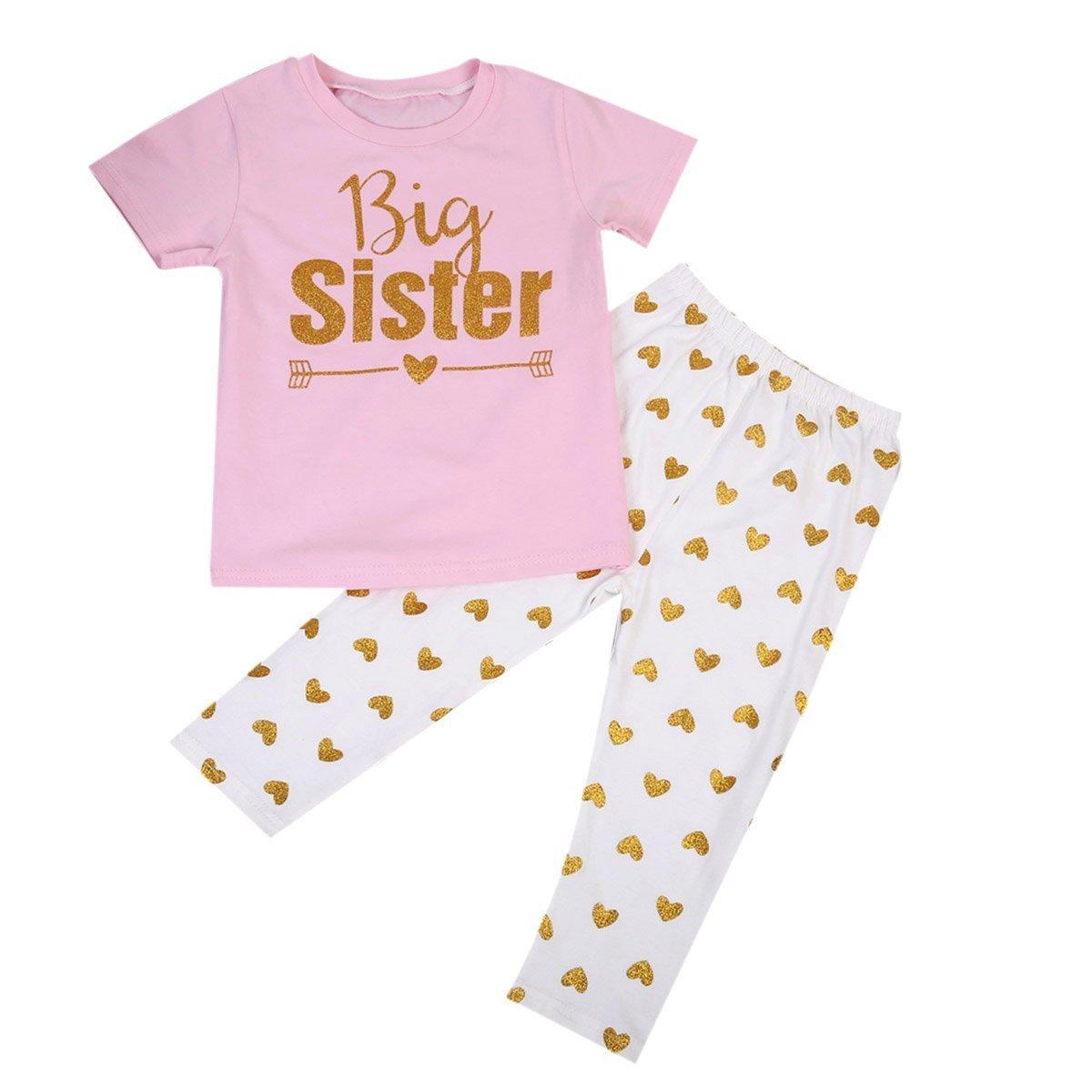 Baby Girl 2pcs Family Matching Clothing Set Big Little Sister Top+Heart Long Pants