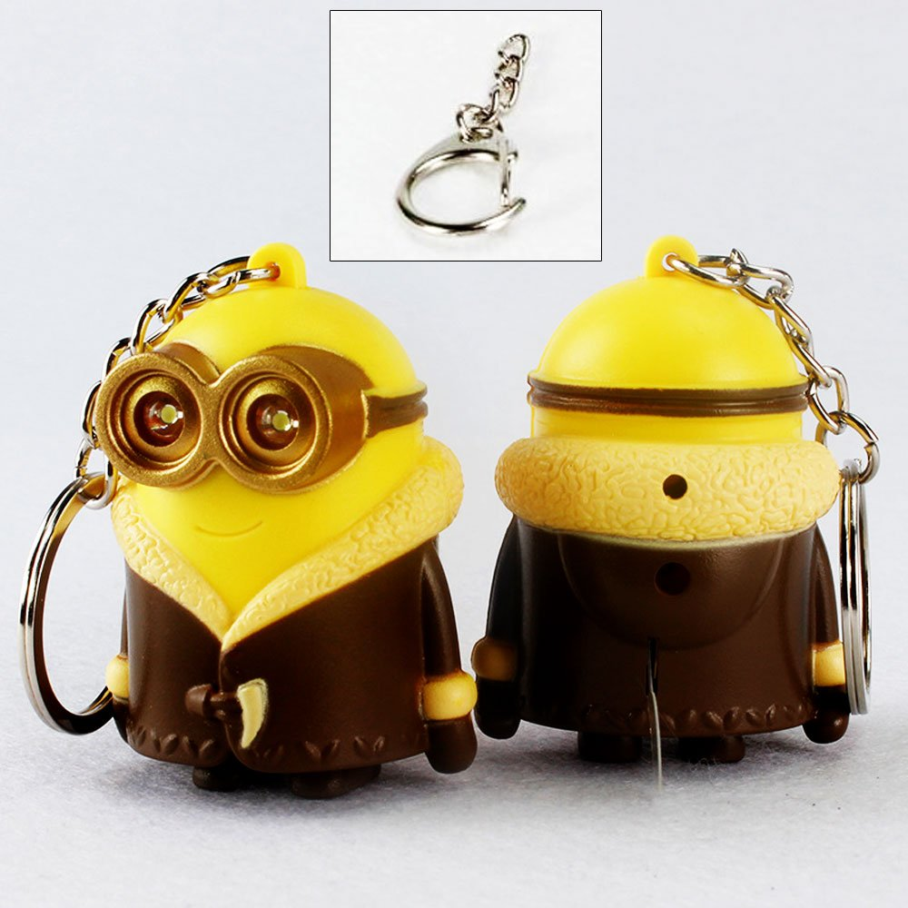Touch Sound Toy 3D Eyes PVC Figure Despicable Me Minion Keychain Ring with LED Flashlight GFDay Single eye