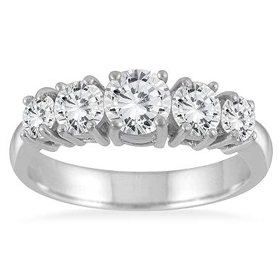 Amazon AGS Certified 1 1 4 Carat TW 5 Stone White Diamond