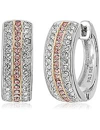 Rhodium Plated Sterling Silver Pink and White Swarovski Crystal Hoop Earrings