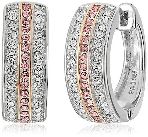Sterling Silver Pink and White Hinged Huggie Hoop Earrings Made with Swarovski Crystal (0.53