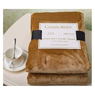 Caitlin White Throw Blanket for Couch/Sofa/Bed, Luxury Super Soft Microplush Velvet, 50 x60 , Khaki