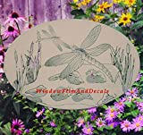 Dragonfly Scene Oval Etched Window Decal Vinyl Glass Cling - 12'' x 8'' - White with Clear Design Elements